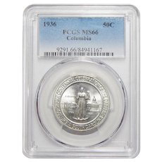 1936 Pcgs MS66 Columbia Half Dollar