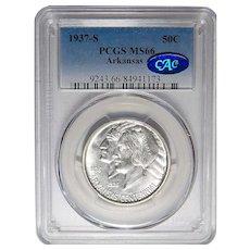 1937-S Pcgs/Cac MS66 Arkansas Half Dollar