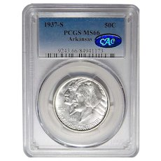 1937-S Pcgs/Cac MS66 Arkansas Half Dollar