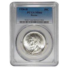1936-D Pcgs MS66 Boone Half Dollar