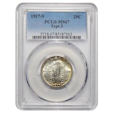 1917-S Pcgs Type 2 MS67 Standing Liberty Quarter