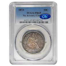 1873 Pcgs/Cac PR65 No Arrows, Closed 3 Liberty Seated Half Dollar