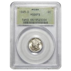 1945-D Pcgs MS66FB Mercury Dime