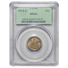 1916-D Pcgs MS62 Mercury Dime