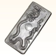 Chinese Export Sterling Silver Cigarette Case with Dragon Motif