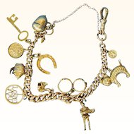 "Vintage English 9K Gold Charm Bracelet - 12 Charms - [just under 8"" long]"