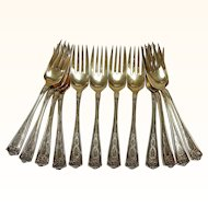 "Twelve (12) Tiffany Winthrop Sterling Silver Vermeil Dessert Forks with ""B"" Monogram R012"