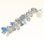 Vintage Sterling Silver Travel / Hobby Themed Sterling Silver Charm Bracelet - 32 Charms R004