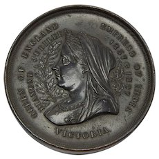 "1897 Queen Victoria Jubilee Bronze Medal (British Empire ""Map"" Reverse) - Large - 2.75"" 224gram"