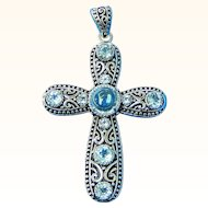 "Sterling Silver Cross Filigree Pendant with Blue Topaz Stones 2"" high R055"