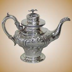 C. Bard & Son Repoussed Coin Coin Silver Tea Pot - Philadelphia c. 1850-1859 R006