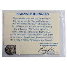 Ancient Roman Silver Denarius Septimius Severus with COA