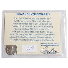 Ancient Roman Silver Denarius Faustina Minor with COA