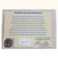 Ancient Roman Silver Denarius Antoninus Pius with COA