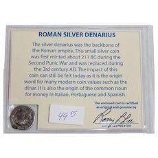 Ancient Roman Silver Denarius Antoninus Pius with COA