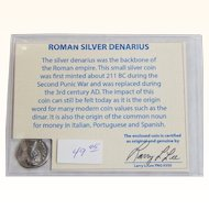 Ancient Roman Silver Denarius Diva Faustina Major with COA