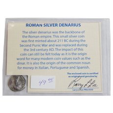 Ancient Roman Silver Denarius Diva Faustina Major with COA