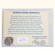 Ancient Roman Silver Denarius Commodus with COA