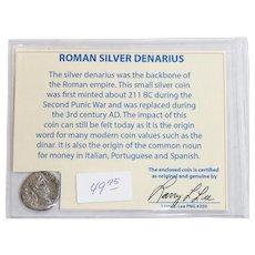 Ancient Roman Silver Denarius Commodus with COA