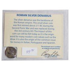 Ancient Roman Silver Denarius Lucius Verus with COA