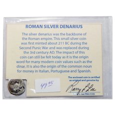Ancient Roman Silver Denarius Hadrian with COA