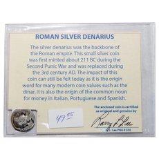 Ancient Roman Silver Denarius Hadrian with COA