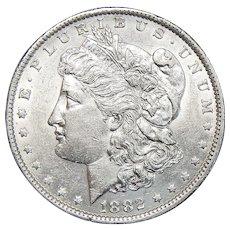 1882-O/S Weak AU55 Morgan Dollar