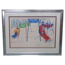 "NASTAR RUN by Rick Rush Serigraph #6/275 32x22"" Framed 42x33"" COA Skiing"