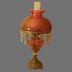 Vintage Cranberry Table Lamp with Hobnail Shade