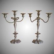 Vintage Pair of Ornate Twisted Stem Silverplate Candelabras