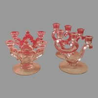 Two Matching Pairs of Vintage Clear Glass Fostoria and Cambridge Candleholders