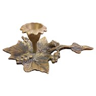 Brass Grape and Leaf Chamberstick Candleholder