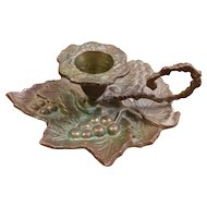 Brass or Bronze Grape and Leaf Chamberstick Candleholder