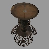 Sale Floral Cast Brass or Bronze Moroccan Style Pillar Candleholder Candlestick