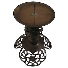 Floral Cast Brass or Bronze Moroccan Style Pillar Candleholder Candlestick