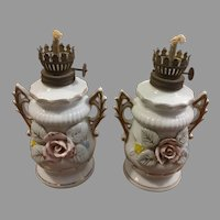 Pair Porcelain Floral Oil Lamps Made in Japan