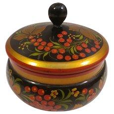 Round Hand Painted Wood Trinket Box