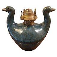 Glazed Ceramic English Made Oil Lamp