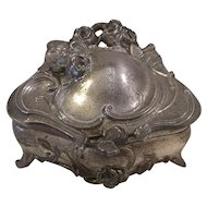 Silverplate Casket Footed Trinket Box