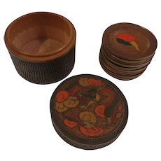 Made in Japan Hand Painted and Carved Wood Coasters
