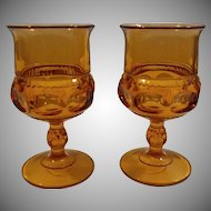 Tiffin Kings Crown Amber Water Goblet