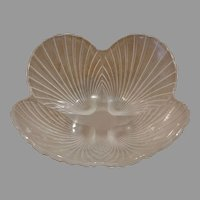Mikasa Crystal Frosted Glass Scalloped Shell Bowl