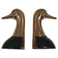 Pair of Brass Duck Bookends