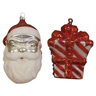 Santa Clause and Wrapped Present Christmas Ornaments