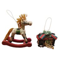 Allegro Rocking Horse and Powell & Hyde Wood Christmas Ornaments