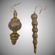 Pair of Goldtone and Glitter Christmas Ornaments