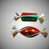 2 Wrapped Candy Glass Christmas Ornaments