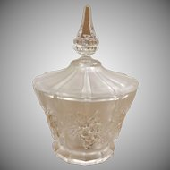 Frosted Crystal Embossed Lidded Candy Dish
