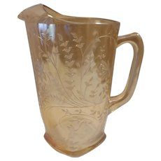 Sale Mid Century Jeannette Floragold Iridescent Carnival Pressed Glass Pitcher Louisa Pattern with Ice Lip