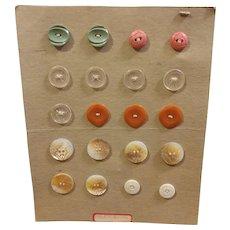 Button Card 20 Vintage Buttons